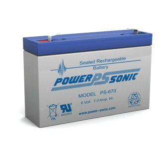 Powersonic PS670 Bleigel 6V 7,0 AH 151x34x94mm