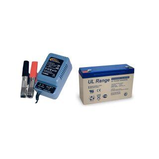 Blei-Gel-Akku 6V, 12Ah inkl. H-Tronic AL-300 Pro Bleiladegerät - Set
