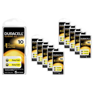 60x Duracell Hörgerätebatterie Activair easytab 10 gelb (PR70) - (10 x 6 Stück) V10