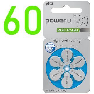 Powerone Hörgerätebatterie PO 675 blau - 10 x 6 St (60 Stück)