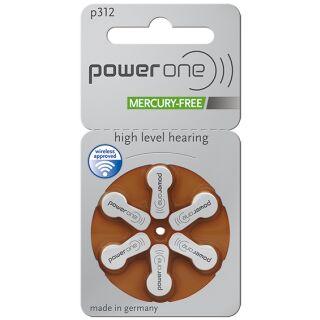 Powerone Hörgerätebatterie PO 312 braun - 10 x 6 St (60 Stück)