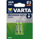 VARTA Recharge Accu Solar AAA Micro 550mAh Ni-Mh Akku (2er Pack, wiederaufladbar ohne Memory Effekt)