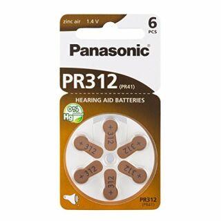 Panasonic Hörgeräte Batterien 1,45V 180mAh PR41 Typ 312 - 6er Blister (6 Stück) frische Zellen