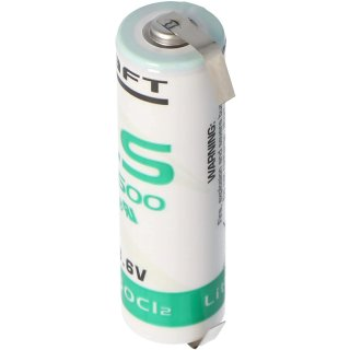 Saft LS14500 AA Lithium-Thionylchlorid 3,6V Premium Made in France - U-Fahne