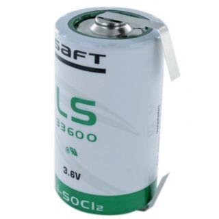 Saft  LS33600 ER-D Mono Lithium-Thionylchlorid 3,6V, 17.000 mAh mit Lötfahne U-Form CNR