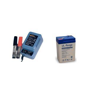 Blei-Gel-Akku 6V, 4,5Ah inkl. H-Tronic AL-300 Pro Bleiladegerät - Set