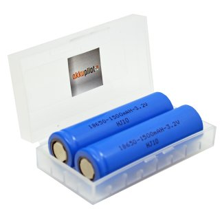 2er Pack InfiniO 18650 Lifepo4 1500 mAh Akku 3,2V bis zu 2000 Zyklen mit akkupilot Schutzbox