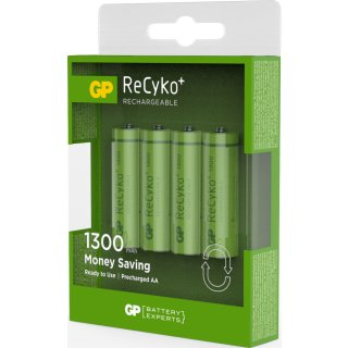 GP 4er Pack Recyko+ AA / Mignon NiMH 2100 mAh Ready2Use Akkus