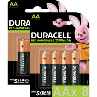 8x Duracell Recharge Ultra Turbo Akku AA Mignon HR06 2.500 mAh Precharged (2x4er Pack)