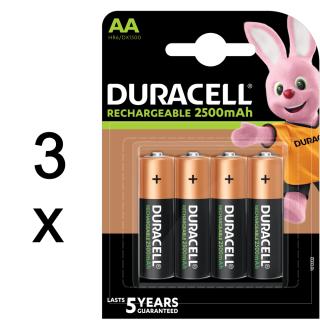 12x Duracell Akku Ultra geringe Selbstentladung AA Mignon HR06 2500 mAh extrastarke Leistung (3x4er Pack)