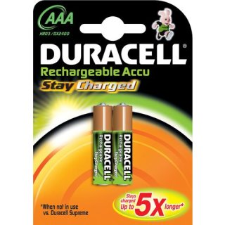 Duracell 2er Pack Akku StayCharged AAA / Micro NiMH 800 mAh Ready2Use