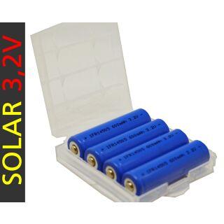 Solarlampen Akku 3,2 V 4er Pack InfiniO AA / Mignon Lifepo4 600 mAh Solarleuchten Akku 3,2V mit Schutzbox