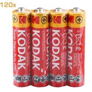120x Kodak AAA R03 Micro Extra Heavy Duty Superlife RED Power Sparset