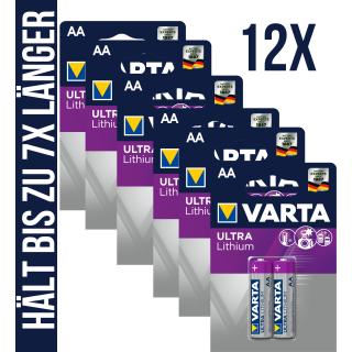 12x Varta Ultra Lithium AA Mignon Professional 6106 1,5V MN1500 L91 LONGLIFE