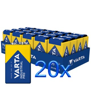 20x Varta 9V Block Batterie 6LR61 550mAh E-Block Alkaline Industrial 20 Stück einzeln versiegelt