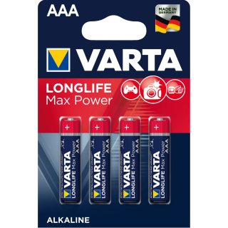 Varta 4er Pack LONGLIFE MAXPOWER Alkaline AAA / Micro
