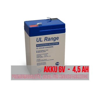 Akku Batterie Peg Perego Kinderfahrzeug, Kinderauto 6V 4,5Ah wie 5,5Ah 4,2Ah 4Ah