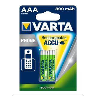 6x Varta Akku T398 AAA / Micro 800 mAh für Telefon