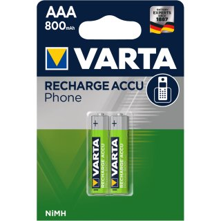 10x Varta Akku T398 AAA / Micro 800 mAh für Telefon